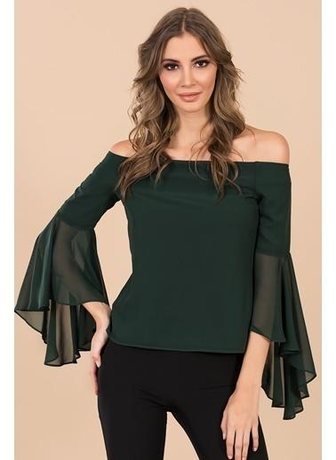 İroni Straplez Kolları Volanlı Bluz Yeşil